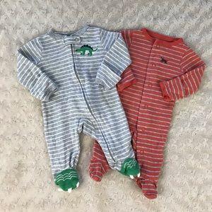 Carter's Newborn Footed Sleepers Dinosaur Dog